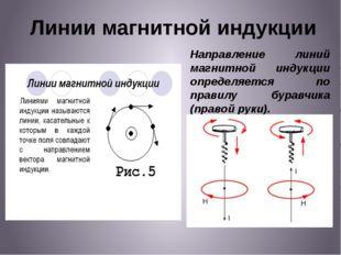Линии магнитной индукции Направление линий магнитной индукции определяется по