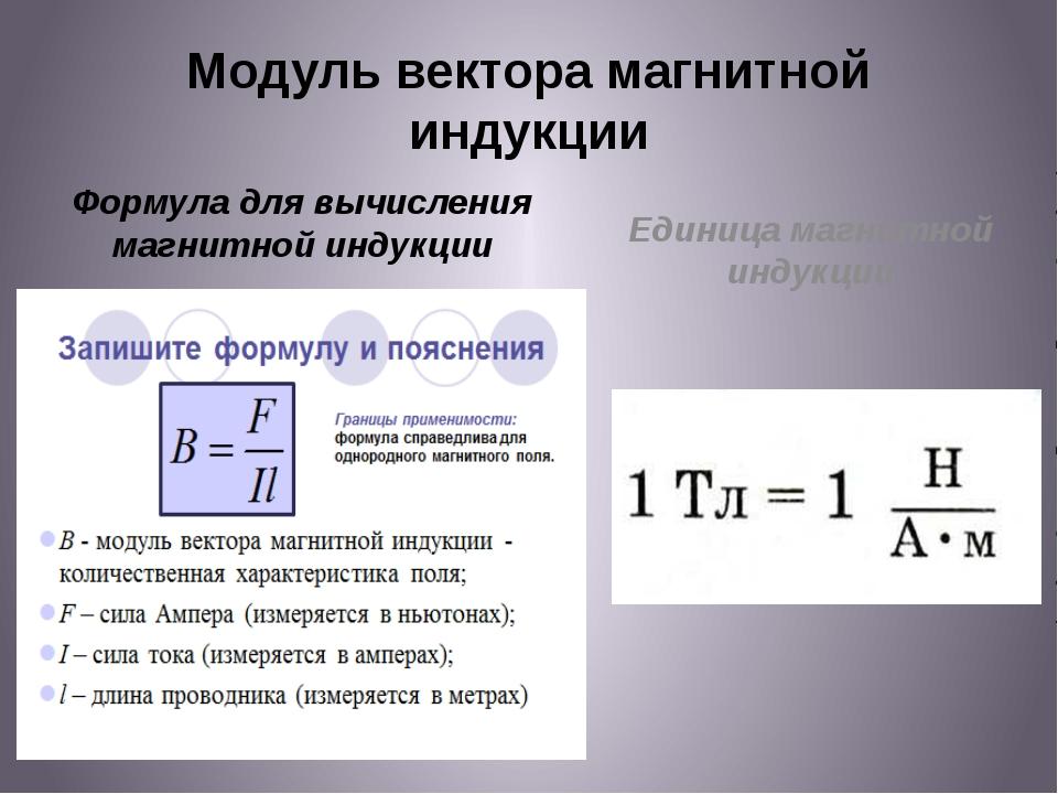 Модуль вектора магнитной индукции Формула для вычисления магнитной индукции Е...
