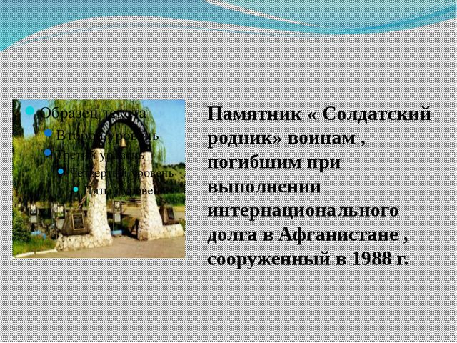 Памятник « Солдатский родник» воинам , погибшим при выполнении интернациональ...