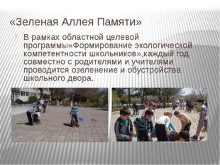 «Зеленая Аллея Памяти» В рамках областной целевой программы«Формирование экол