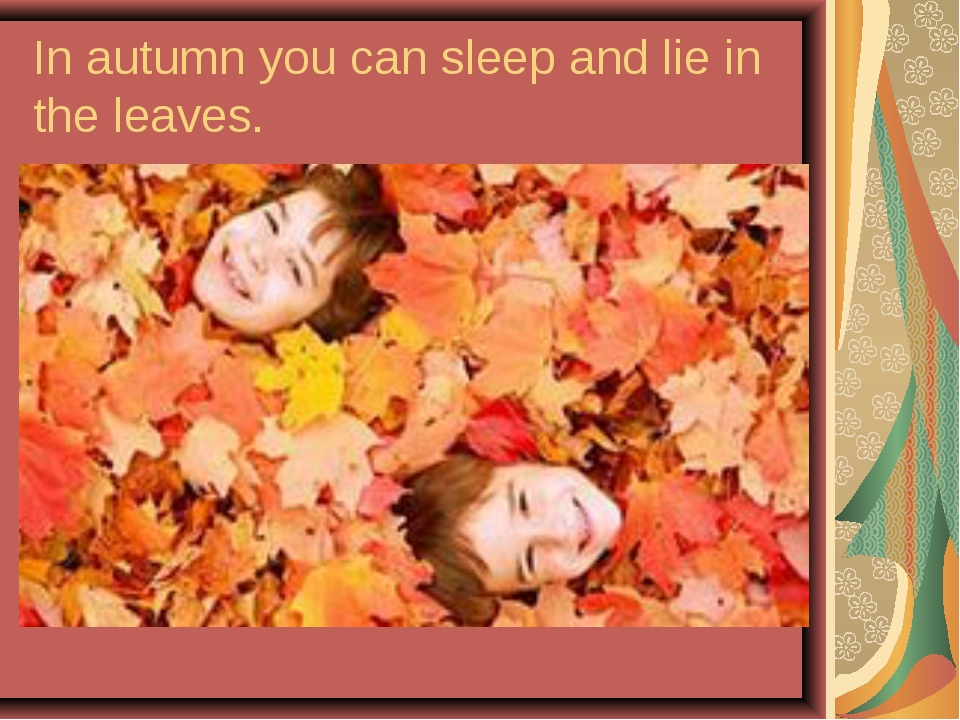 In autumn you can sleep and lie in the leaves.