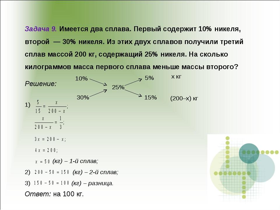Задача 9. Имеется два сплава. Первый содержит 10% никеля, второй — 30% никел...
