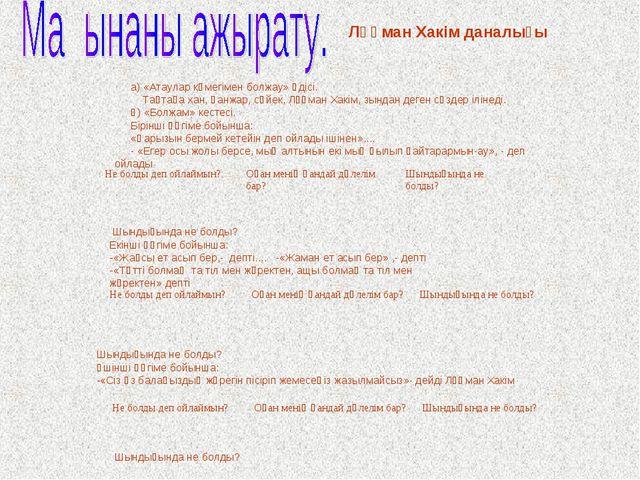 а) «Атаулар көмегімен болжау» әдісі. Тақтаға хан, қанжар, сүйек, Лұқман Хакім...