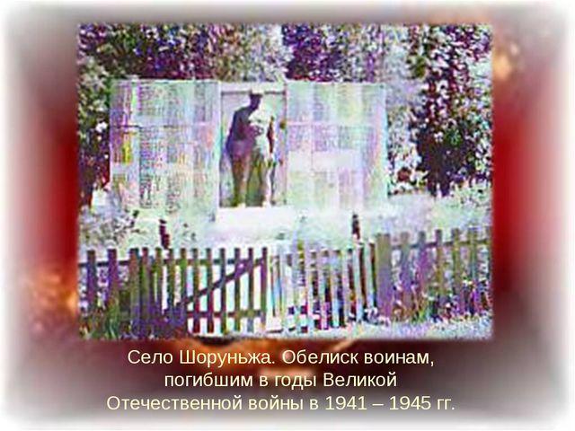 Село Шоруньжа. Обелиск воинам, погибшим в годы Великой Отечественной войны в...