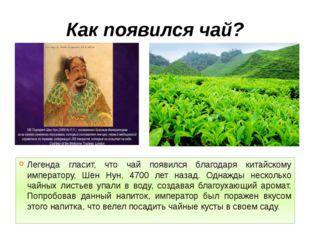 Как появился чай? Легенда гласит, что чай появился благодаря китайскому импер