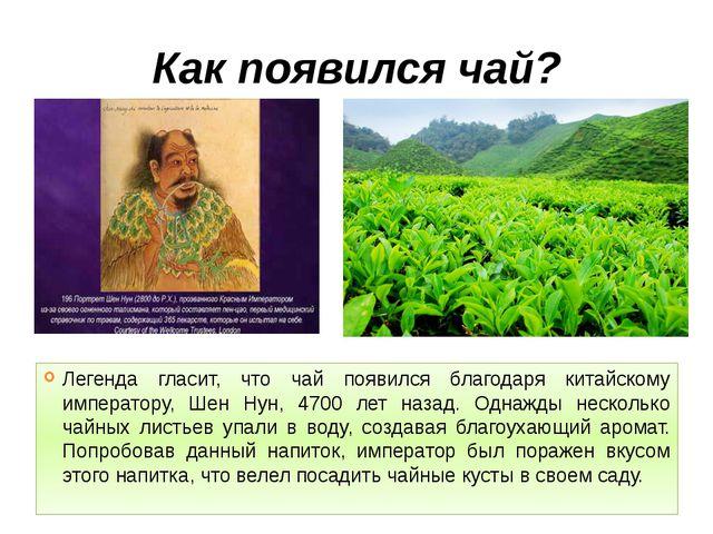 Как появился чай? Легенда гласит, что чай появился благодаря китайскому импер...