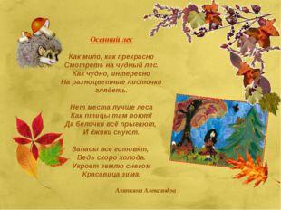 Осенний лес Как мило, как прекрасно Смотреть на чудный лес. Как чудно, интере