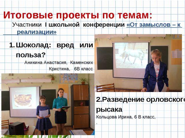 Итоговые проекты по темам: Участники I школьной конференции «От замыслов – к...
