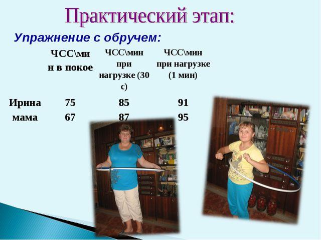 Упражнение с обручем: ЧСС\мин в покоеЧСС\мин при нагрузке (30 с)ЧСС\мин пр...