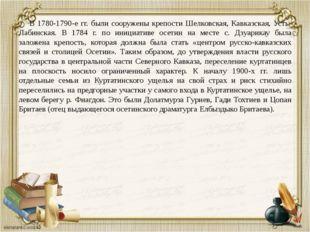 В 1780-1790-е гг. были сооружены крепости Шелковская, Кавказская, Усть-Лабин