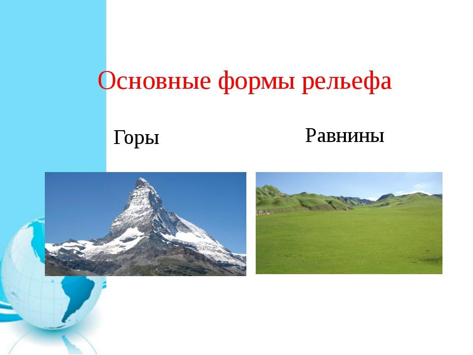 Основные формы рельефа Горы Равнины