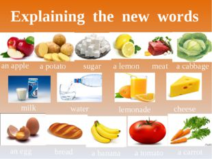 Explaining the new words an apple a potato water milk a carrot a tomato a ban