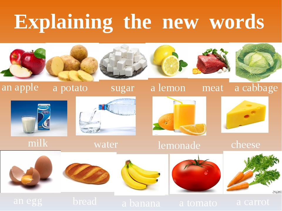 Explaining the new words an apple a potato water milk a carrot a tomato a ban...