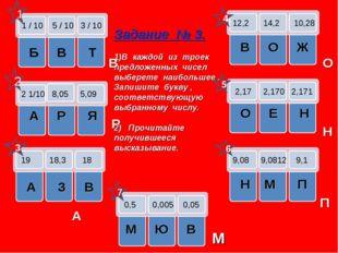 1 / 10 5 / 10 3 / 10 Б В Т 2 1/10 8,05 5,09 А Р Я 19 18,3 18 А З В 12,2 14,2