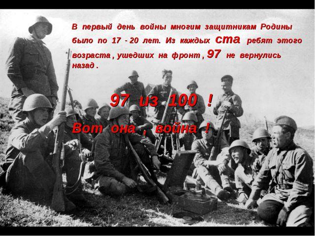 В первый день войны многим защитникам Родины было по 17 - 20 лет. Из каждых с...