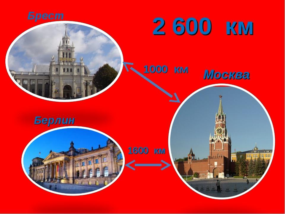 Брест Москва Берлин 1000 км 1600 км 2 600 км