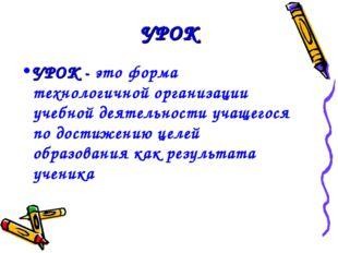 УРОК УРОК - это форма технологичной организации учебной деятельности учащегос