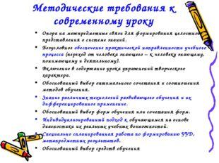 Методические требования к современному уроку Опора на межпредметные связи для