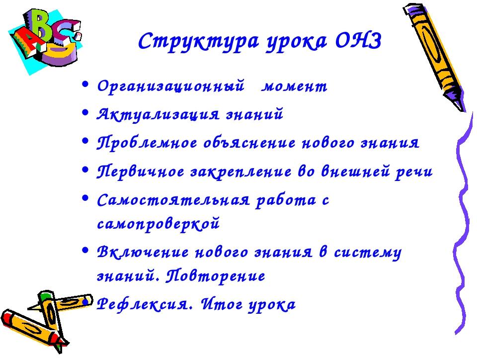 Организационный момент Актуализация знаний Проблемное объяснение нового знани...