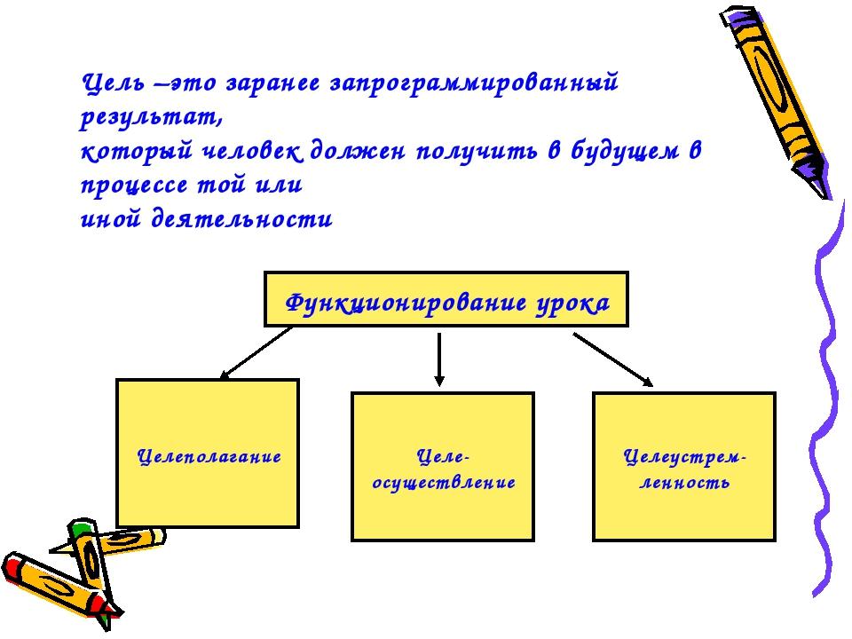 Цель –это заранее запрограммированный результат, который человек должен получ...