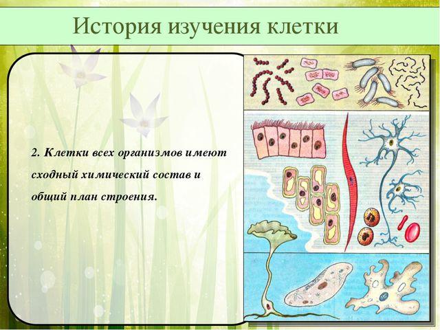 2. Клетки всех организмов имеют сходный химический состав и общий план строе...