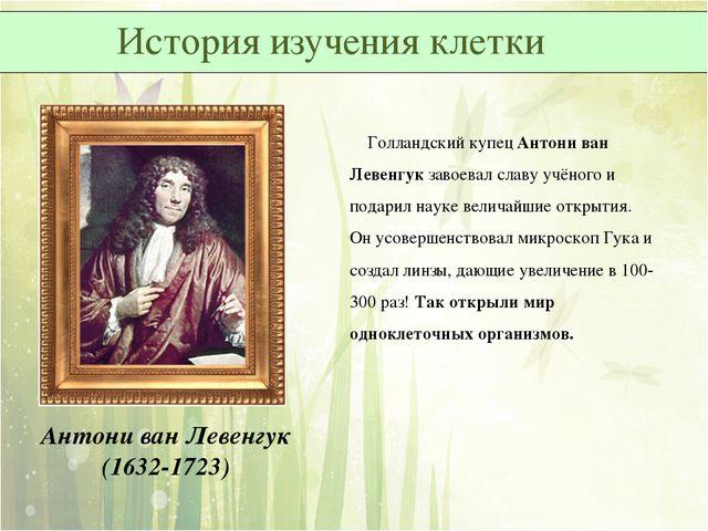 Голландский купец Антони ван Левенгук завоевал славу учёного и подарил науке...