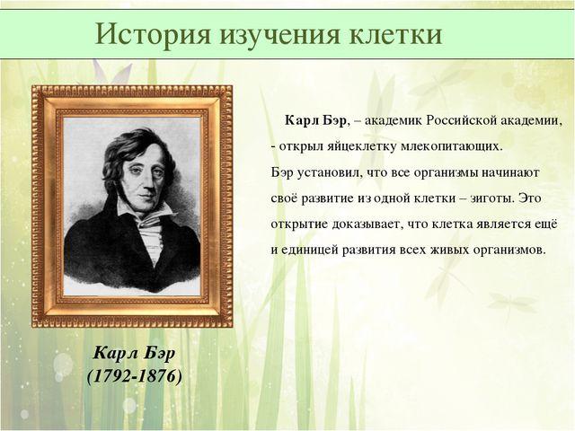 Карл Бэр, – академик Российской академии, - открыл яйцеклетку млекопитающих....