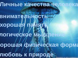 Личные качества человека: -внимательность -хорошая память -логическое мышлен