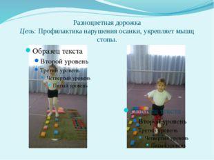 Разноцветная дорожка Цель: Профилактика нарушения осанки, укрепляет мышц стопы.