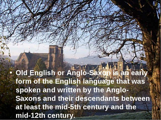 Old English or Anglo-Saxon is an early form of the English language that was...