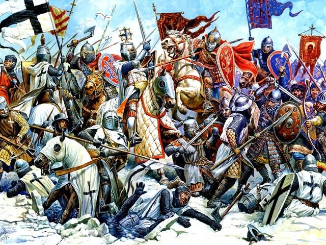 Обои Живопись ( картина ) Средневековье Лошади Рыцарь Битвы …