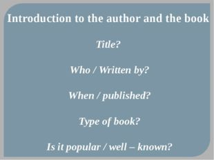 Introduction to the author and the book Title? Who / Written by? When / publi