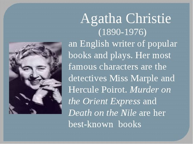 Agatha Christie (1890-1976) an English writer of popular books and plays. Her...