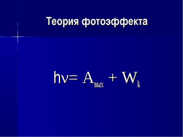 Теория фотоэффекта hν= Aвых + Wk