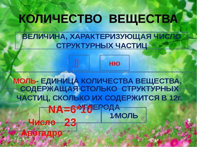 МОЛЯРНАЯ МАССА и количество вещества М Г⁄МОЛЬ Ѵ m m М Ѵ Ѵ m М ∙