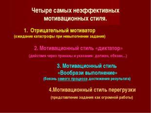 Четыре самых неэффективных мотивационных стиля. 1. Отрицательный мотиватор (