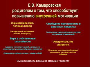 Е.В. Камаровская родителям о том, что способствует повышению внутренней мотив
