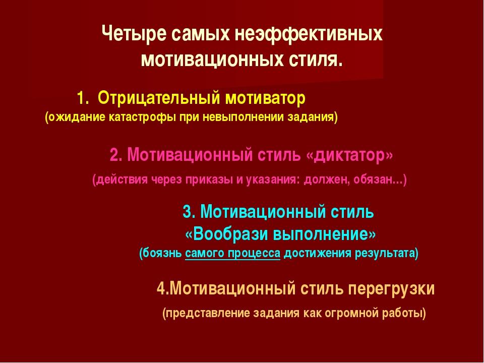 Четыре самых неэффективных мотивационных стиля. 1. Отрицательный мотиватор (...