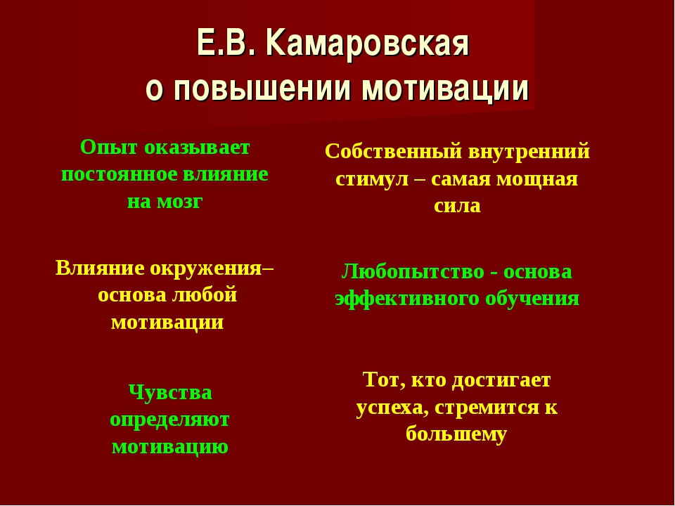 Е.В. Камаровская о повышении мотивации Опыт оказывает постоянное влияние на м...