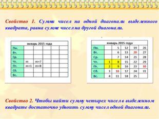 Свойство 1. Сумма чисел на одной диагонали выделенного квадрата, равна сумме