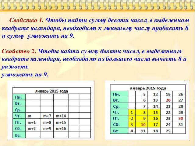 Свойство 1. Чтобы найти сумму девяти чисел, в выделенном квадрате календаря,...
