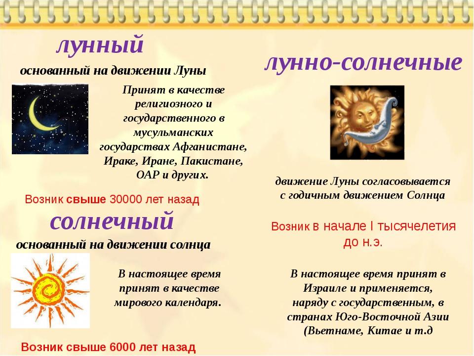 солнечный лунный основанный на движении Луны лунно-солнечные основанный на дв...