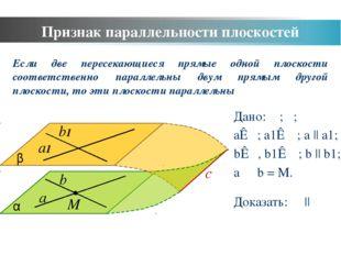 Признак параллельности плоскостей a b α b1 a1 β Дано: α; β; a⊂α; a1⊂ β; a ||