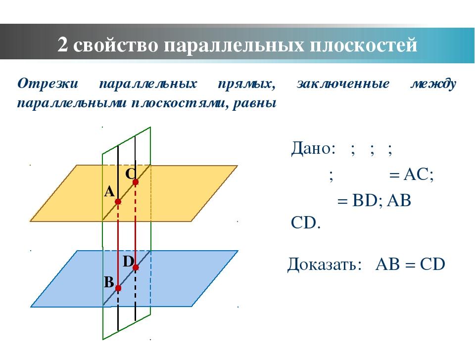 Дано: α; β; γ; α ‖ β; γ ⋂ α = AC; γ ⋂ β = BD; AB ‖ CD. Доказать: AB = CD Отре...