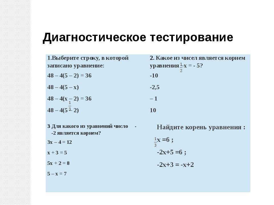 Диагностическое тестирование 1.Выберите строку, в которой записано уравнение:...