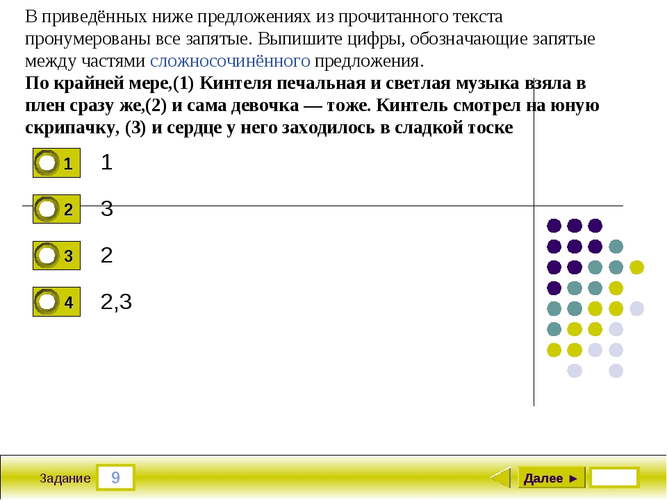 9 Задание 1 3 2 2,3 Далее ► В приведённых ниже предложениях из прочитанного т...