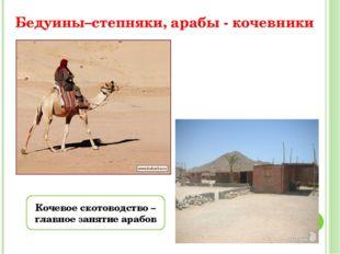 Бедуины–степняки, арабы - кочевники Кочевое скотоводство – главное занятие ар