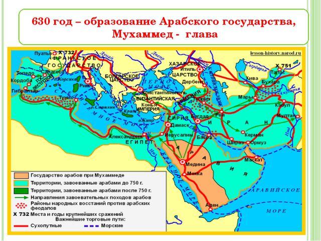 630 год – образование Арабского государства, Мухаммед - глава
