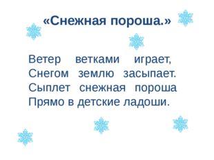 «Снежная пороша.» Ветер ветками играет, Снегом землю засыпает. Сыплет снежная