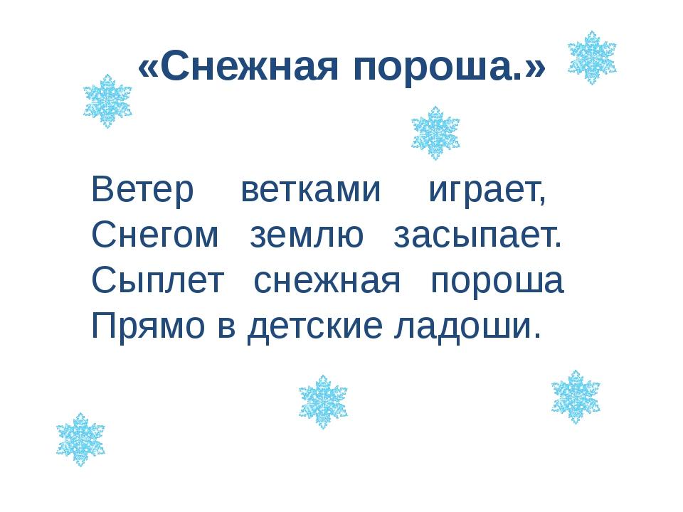«Снежная пороша.» Ветер ветками играет, Снегом землю засыпает. Сыплет снежная...